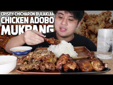 SUPER CRISPY CHICHARON BULAKLAK AND KILLER CHICKEN ADOBO MUKBANG   FILIPINO FOODS   Vlog #215