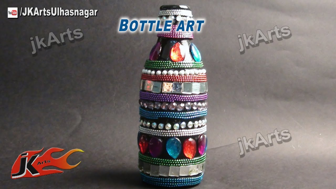 decorated glass bottles.  HOW TO Decorate Glass Bottle Art JK Arts 506 YouTube