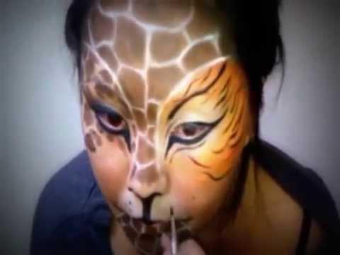 tiger/giraffe/cheetah face makeup - YouTube