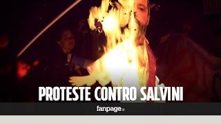 Bruciato il fantoccio di Salvini a Catania. E il leader della Lega sposta il comizio