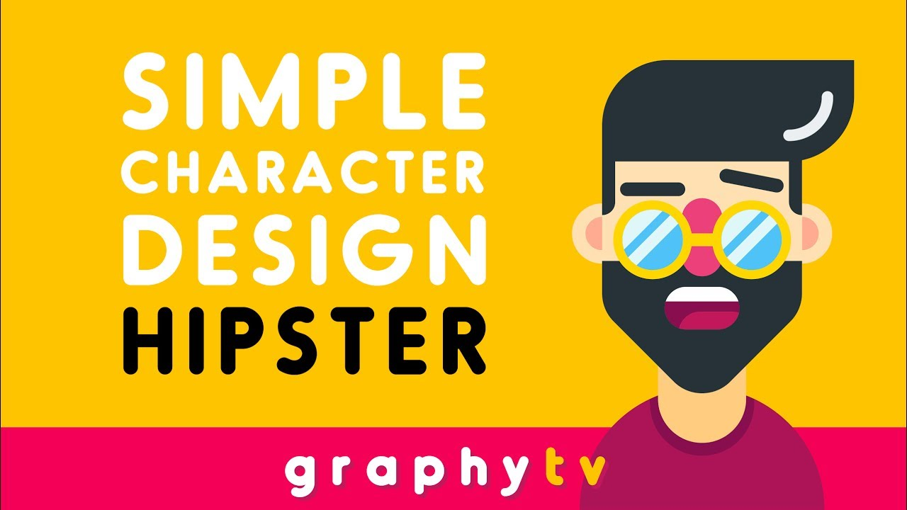 Simple Character Design Illustrator : How to draw a hipster simple flat character illustrator youtube