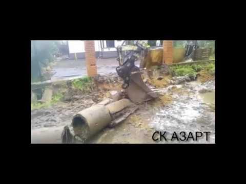 Подъем бетонной трубы въезда на участок.