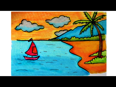 How To Draw Beach Scenery For Kids Using Oil Pastels Slow