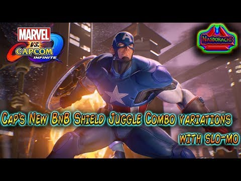 Captain America's NEW Shield Juggle BnB combo guide with slow-mo - Marvel vs Capcom Infinite