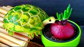 Art In Watermelon Turtles - Fruit Carving Garnish - Party Garnishing - Food Decoration