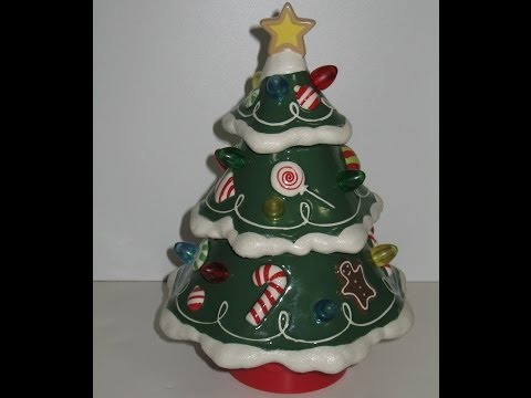 Hallmark Musical Ceramic Christmas Tree Rotates Lights Up Retired Light Sound Motion