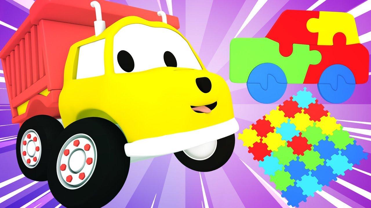 교육 카툰 -  덤프 트럭 Ethan이 퍼즐을 가지고 놀면서 다양한 색깔들을 배워요!   3D 덤프트럭 장난감으로 배우는 교육 비디오