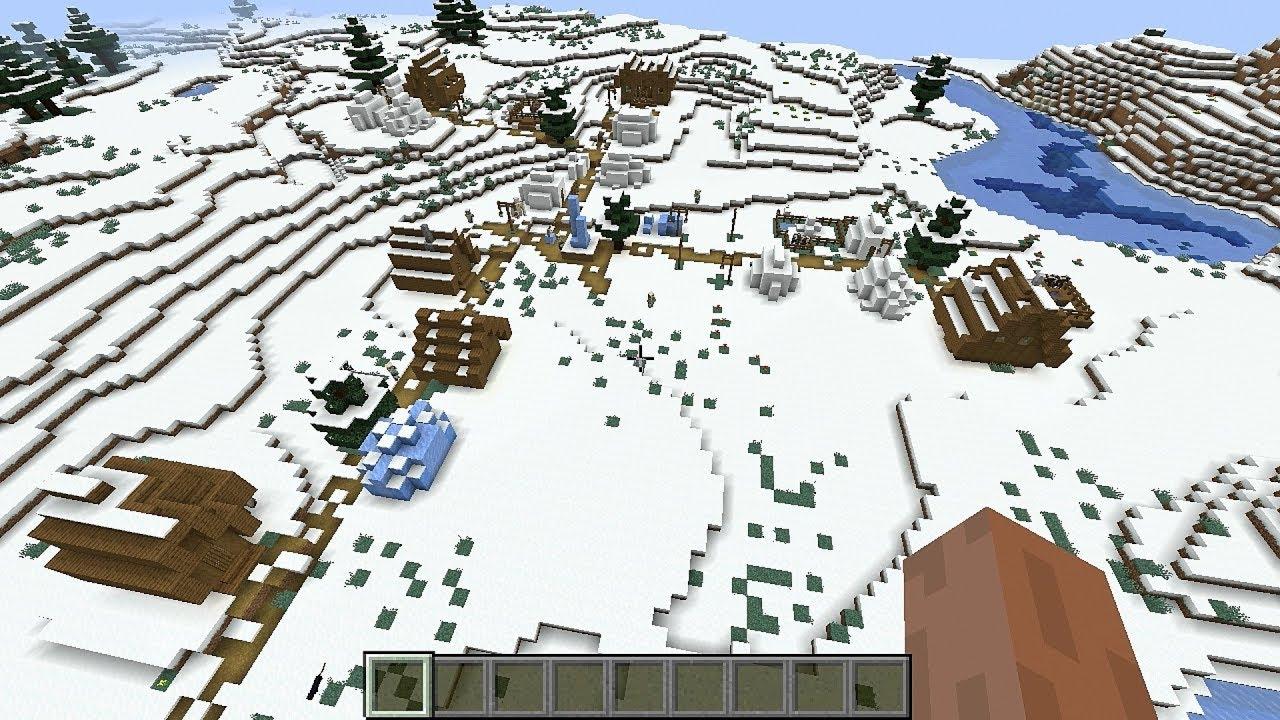 Minecraft 112.1124.12 Seed 11299: Snow village and taiga village at spawn