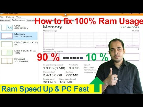 How To Fix 100% Ram Usage On Microsoft Windows 10/8.1/8/7/Vista || 32 Bit & 64 Bit