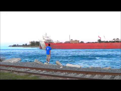 Three lake freighters under the Blue Water Bridge, Port Huron, Michigan