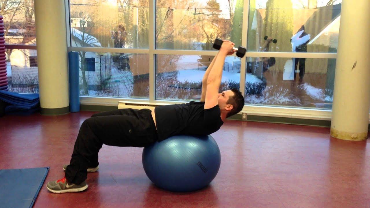 Stability Ball Dumbbell Pullover - YouTube