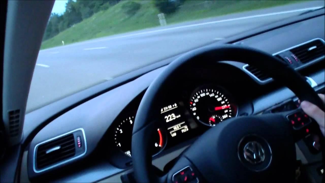 2012 VW Passat 2.0 TDI performance on Autobahn A8 - YouTube