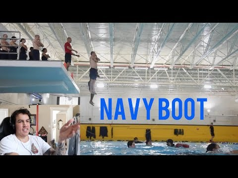NEW Navy Bootcamp Abandon Ship Drill And Swim Test - Reaction