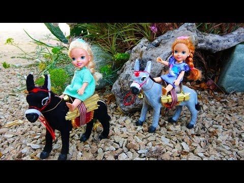 Elsa and Anna toddlers adventure with donkeys