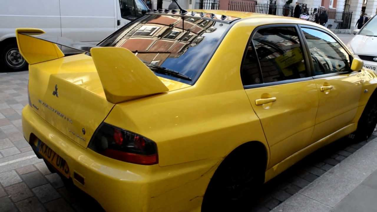 Yellow Mitsubishi Lancer Evolution Heavily Tuned Seen In London