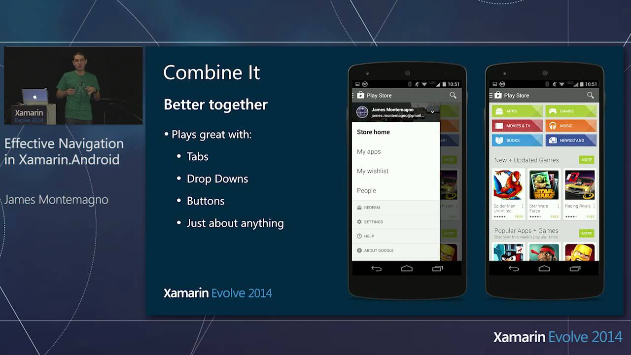 Xamarin Evolve 2014: Effective Navigation in Xamarin Android - James  Montemagno, Xamarin