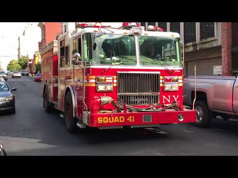 FDNY SQUAD 41 RESPONDING FROM QUARTERS ON 150TH STREET IN MOTT HAVEN, THE BRONX IN NEW YORK CITY.