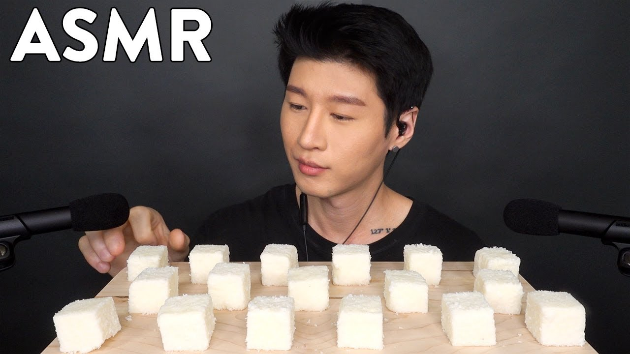 Asmr Coconut Snow Cubes No Talking Soft Chewy Eating Sounds Zach Choi Asmr