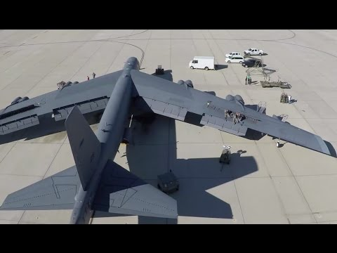 Drone flight over a B-52H at Edwards Air Force Base (USAF video)