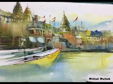 Watercolor painting landscape of varanasi ghat by world famous artist Milind Mulick sir