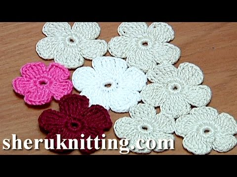Crochet Simple Five Petal Flat Flower Tutorial 28 Part 1 Of 2
