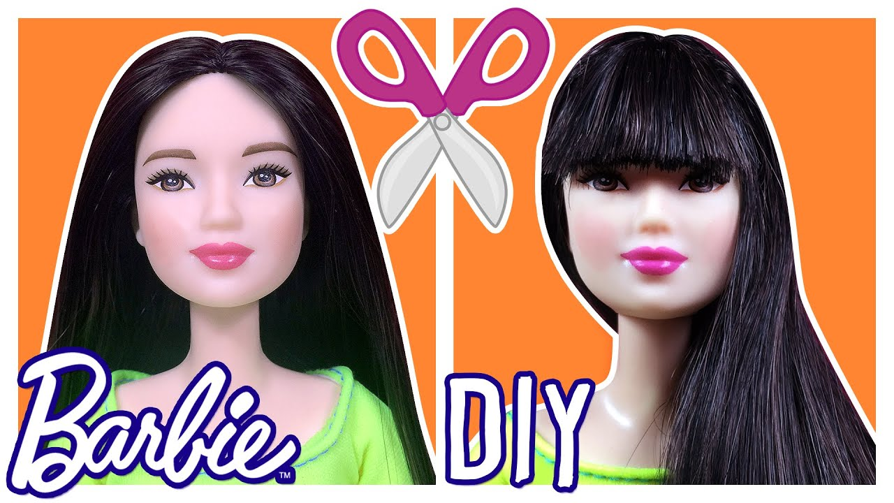 doll to style hair diy how to cut doll hair bangs hair 1719