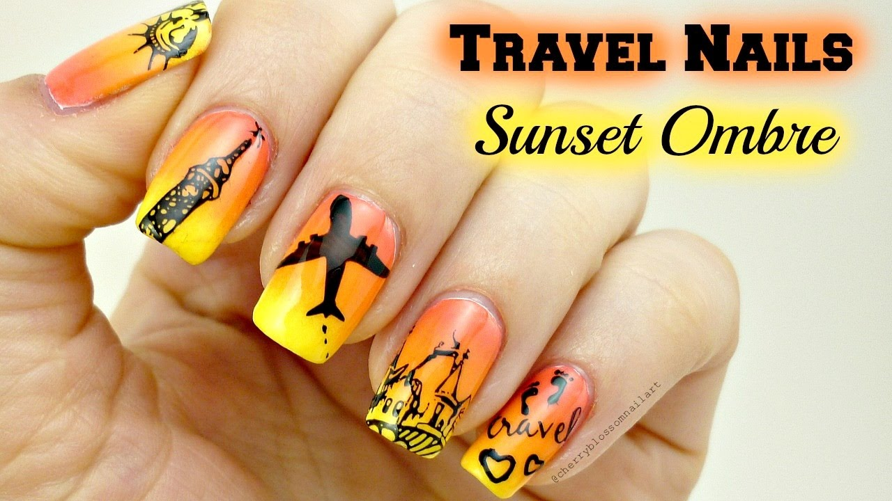 travel sunset ombre nail art stamping