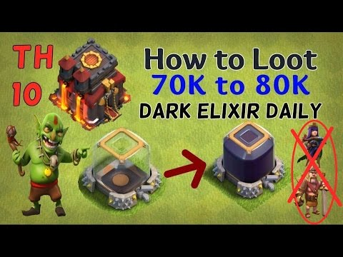 Clash of Clans- TH10 How to Get 70k Dark Elixir Daily w/o Max Level Heroes