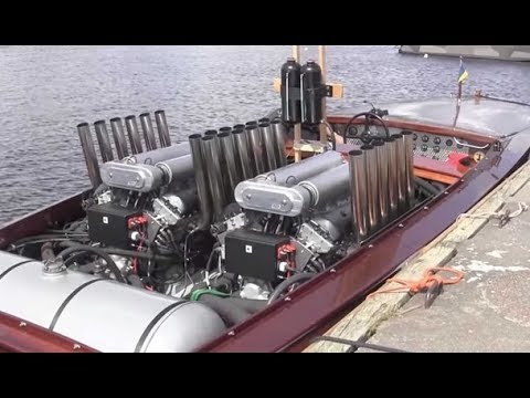 Big Crazy Boat Engines Starting Up and Sound
