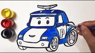 Vẽ Và Tô Màu Xe Cảnh Sát robocar poli - How to Draw Robocar Poli