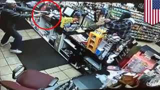 Robbery fail: Clerk scares off knife-wielding robber - TomoNews