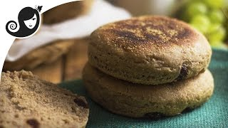English Muffin Recipe with Cinnamon and Raisin - Vegan Breakfast  Vegan Recipe