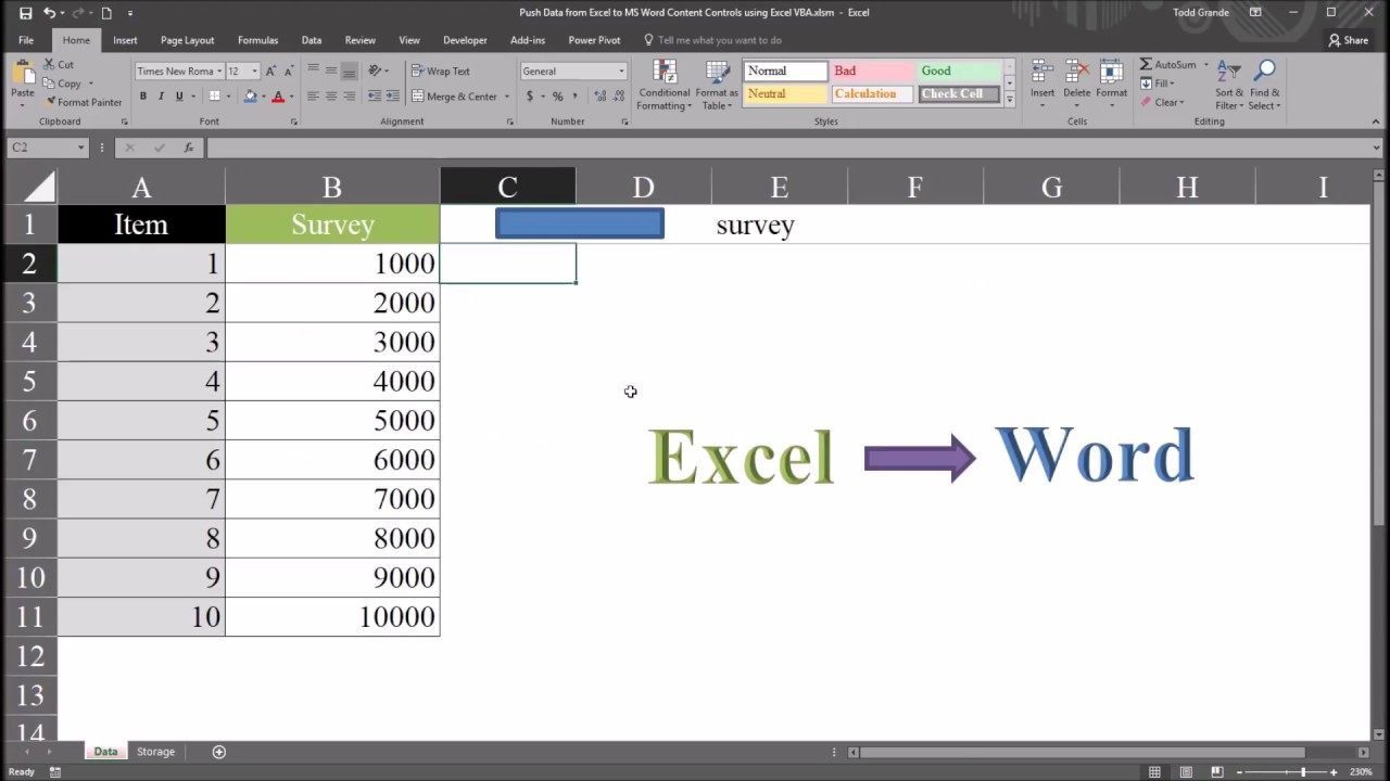 Push Data from Excel to MS Word Content Controls using Excel VBA