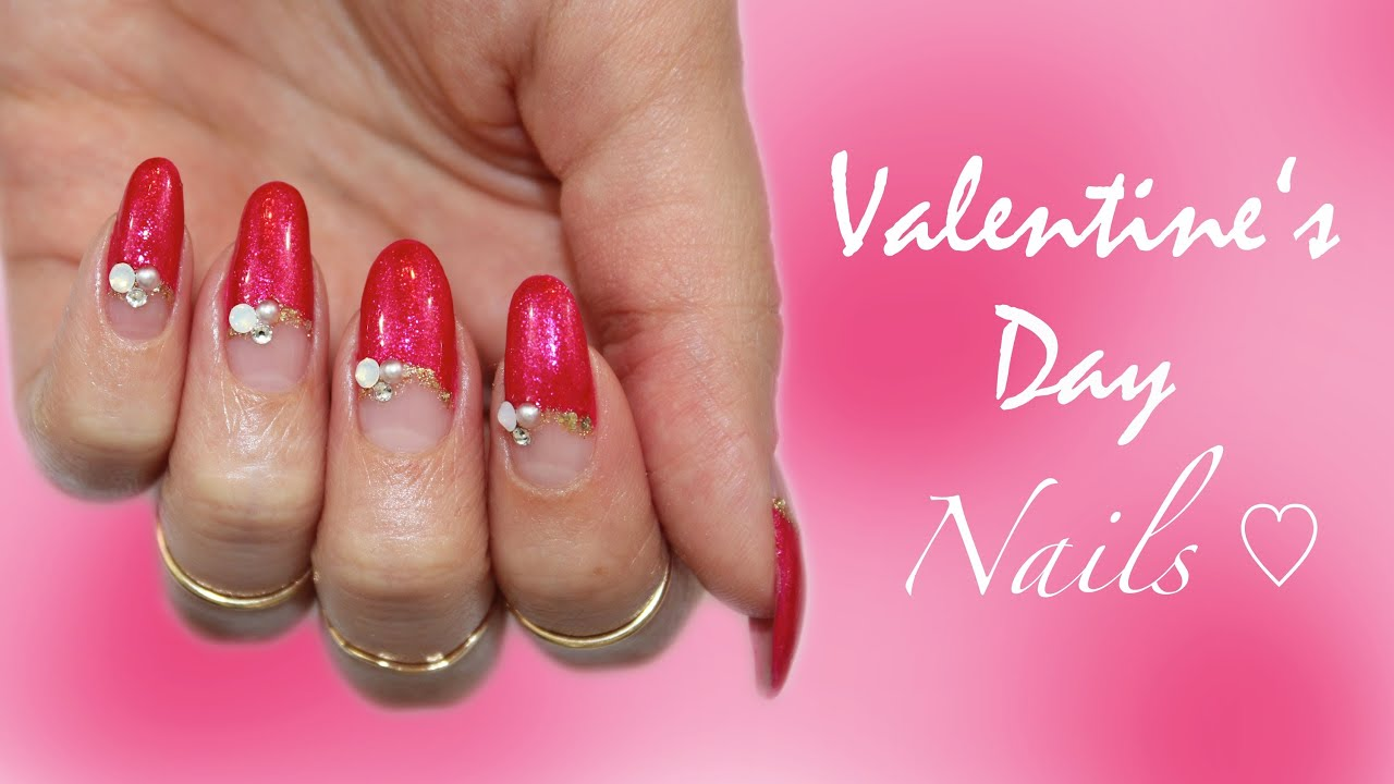 Valentine\'s Day| Last Minute Deep French Nail Design ♡ - YouTube