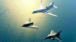 Dassault Neuron UCAV French Drone, Rafale & Falcon 7X Business Jet Formation Flight | HD