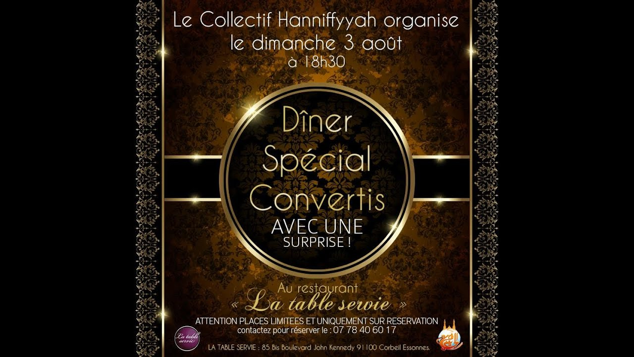 Collectif Hanifiyyah Conference Et Diner Special Reconvertis