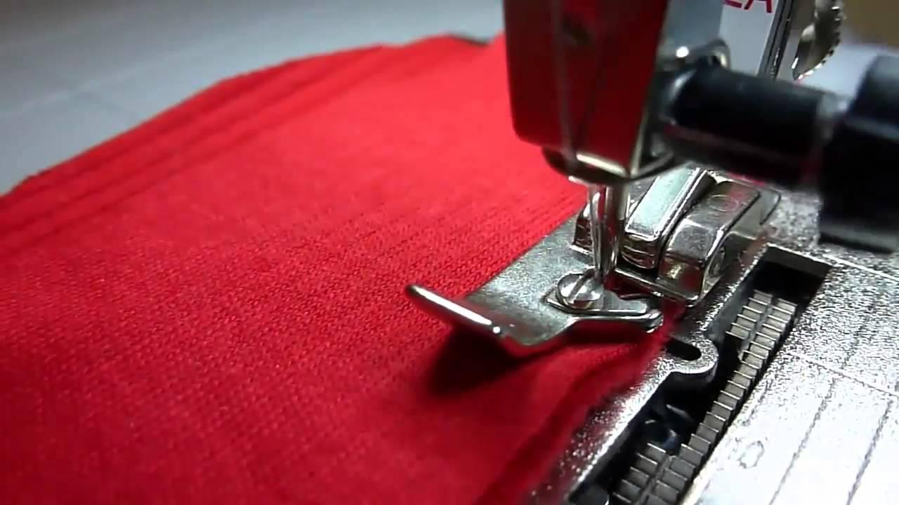 Шитье трикотажа и обметка срезов на простой швейной машине без .