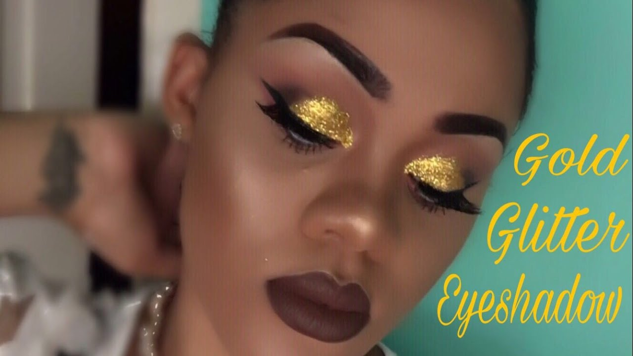 Gold Glitter Eyeshadow  Brown Lipstick - Youtube-6717