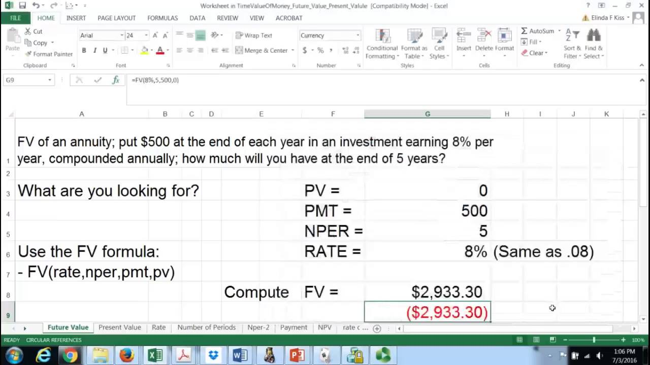 Future Value Of An Annuity Calculation In Excel Youtube