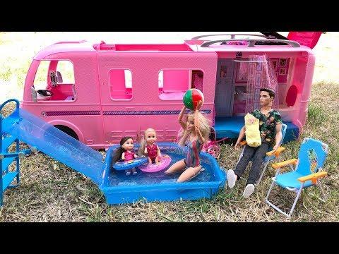 New Barbie Camper! Barbie Family Camping!!