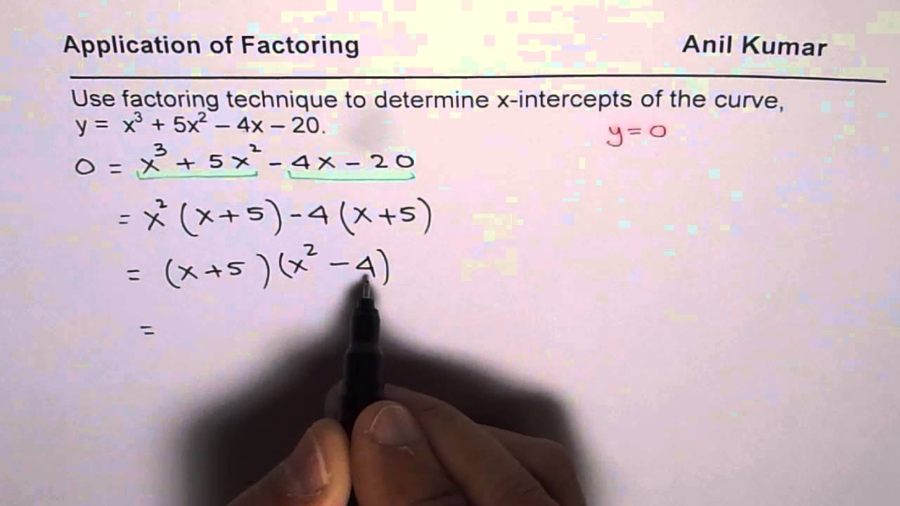 Factor to find x intercepts of a cubic equation youtube factor to find x intercepts of a cubic equation falaconquin
