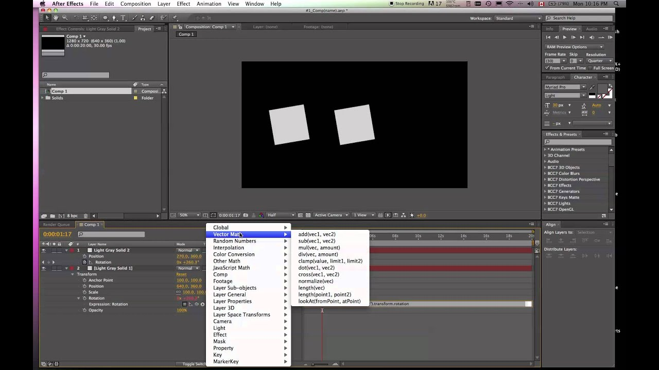 how to add an expression in after effects