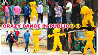 Crazy Teddy bear Dance In Public 😆🤣🤣| Funny reactions| India| Bangalore| Mr Crazy