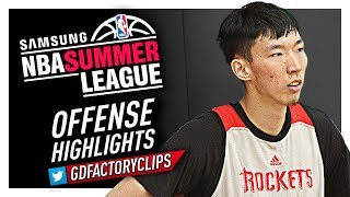 Zhou Qi Offense & Defense Highlights (2017 Summer League) - Houston Rockets Debut!