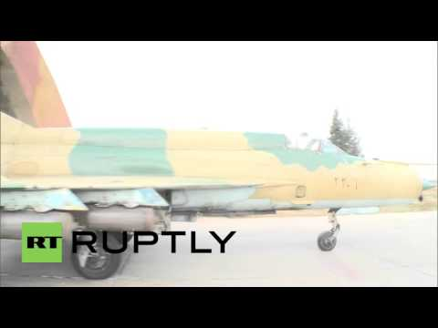 Syria: Syrian Air Force MiG-21 fighter jet conducts sorties in Hama province