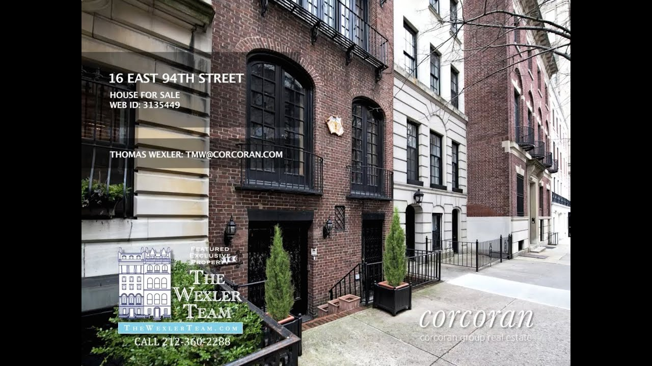 Updated nyc townhouse 16 east 94th st manhattan for sale for Townhomes for sale in nyc