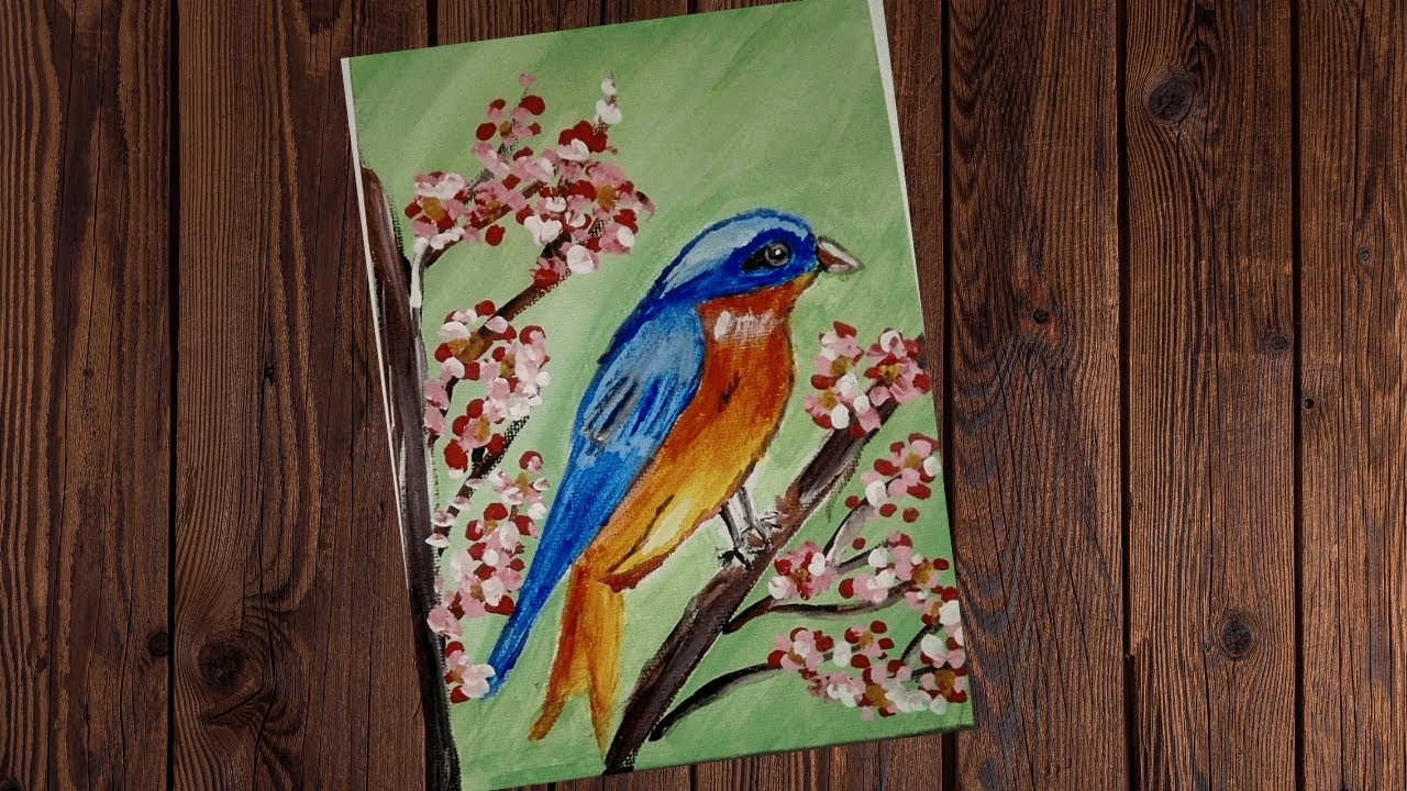 Easy Acrylic Painting   How To Paint A Bird Step By Step ...