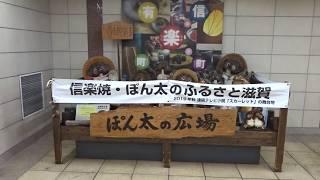 東京メトロ有楽町線の有楽町駅地下通路にあるタヌキの置物の信楽焼が集結した「ぽん太の広場」