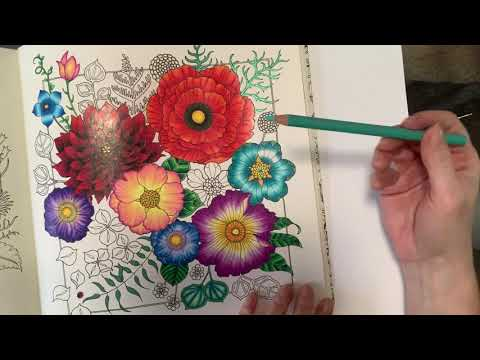 Johanna Basford World of Flowers - shiny flower petals made easy - Claire Holoway Colouring