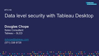 Data level security with Tableau Desktop - Session 1